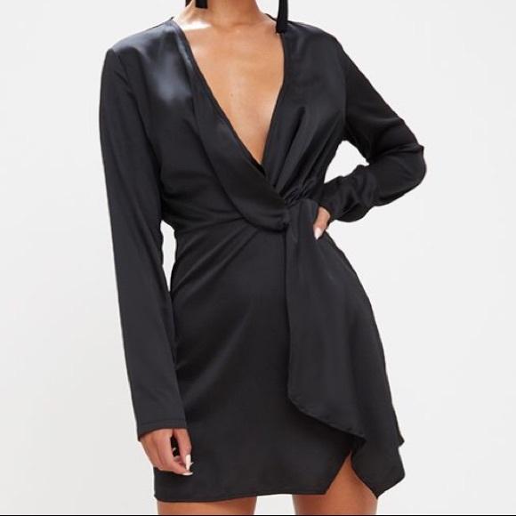 130816c4e90 Black Satin Long Sleeve Wrap Dress
